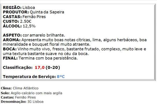 apreciacao Sapeira Regional Branco 2014