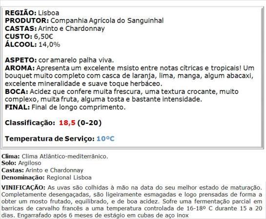 apreciacao Sanguinhal Chardonnay-Arinto Branco 2013