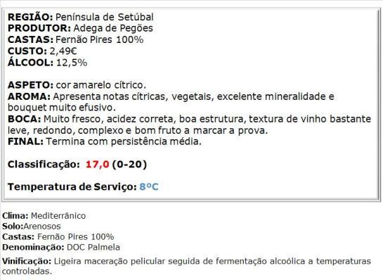 apreciacao Fontanário de Pegões Branco 2014