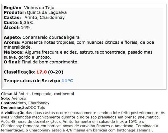 apreciacao Quinta da Lagoalva de Cima Arinto-Chardonnay 2013