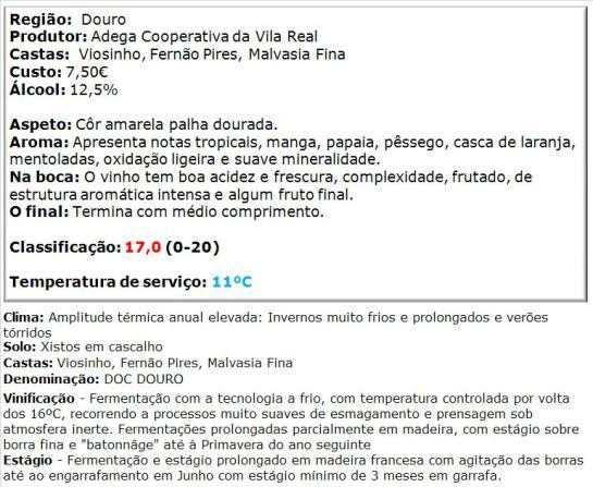 apreciacao Vila Real Grande Reserva Branco 2012