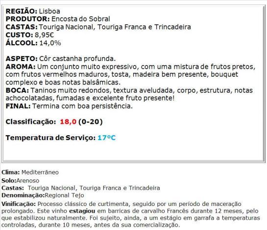 apreciacao Encosta do Sobral Reserva Tinto 2011