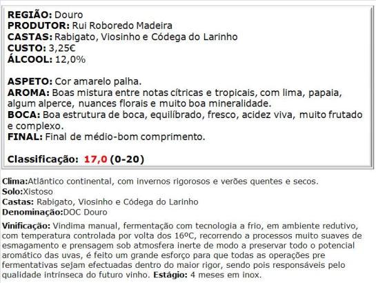 apreciacao Quinta da Cassa Branco 2013