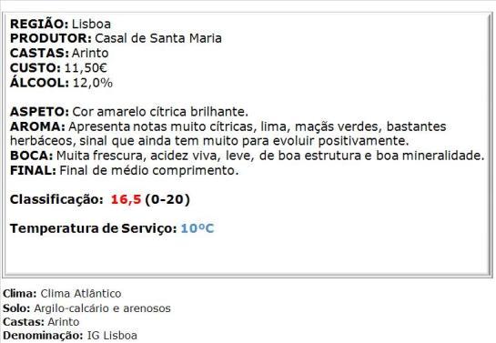 apreciacao Casal Sta. Maria Arinto Branco 2014
