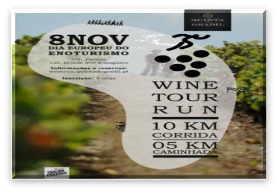 """No dia 8 de Novembro, próximo domingo, a Quinta do Gradil convida a """"celebrar o vinho"""". Desta vez, o desafio é transformar as suas extensas fileiras de vinha em verdadeiras pistas de corrida, para dar lugar à primeira Wine Run da Região Vinhos de Lisboa com direito a brinde no final."""
