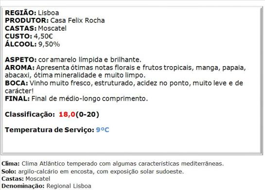apreciacao Felix Rocha Moscatel Leve Branco 2014