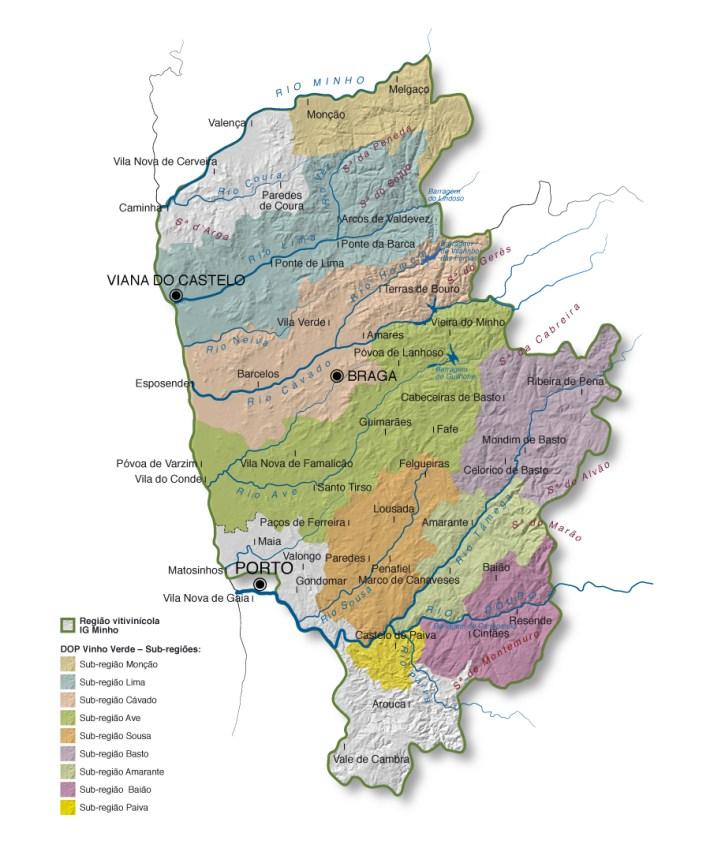 MAPA DA REGIÃO DE VINHOS VERDES (Clique para ampliar)