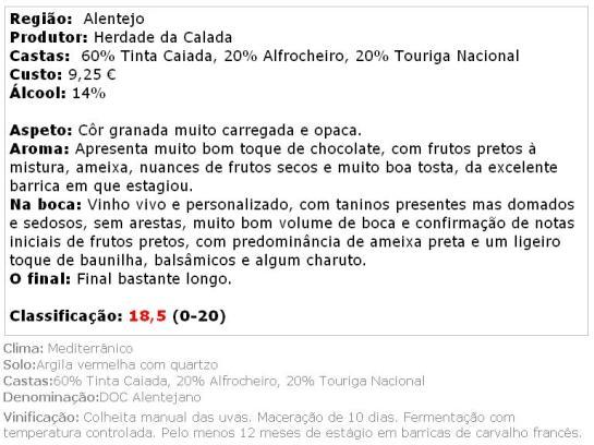 apreciacao CALADESSA TINTO DOC ESCOLHA 2012