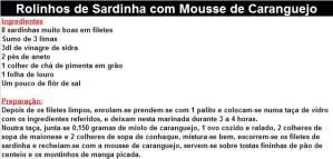 rpRolinhos de Sardinha com Mousse de Caranguejo