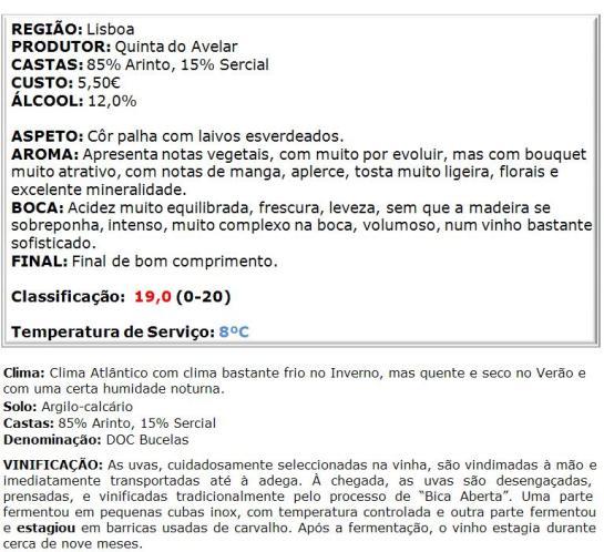 apreciacao Quinta do Avelar Arinto Branco 2014