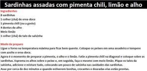 rpSardinhas assadas com pimenta chili, limão e alho