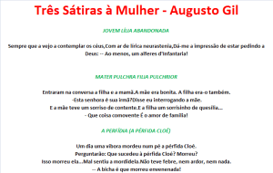 Três Sátiras à Mulher - Augusto Gil