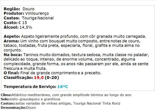 apreciacao D. Graça Touriga Nacional 2011