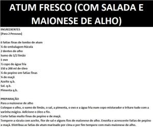 rpATUM FRESCO (COM SALADA E MAIONESE DE ALHO)