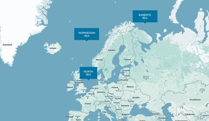 Mapa das principais zonas de captura no Oceano Atlântico