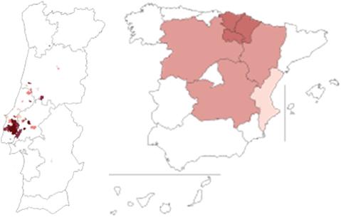 Tinta Miúda: Distribuição entre Portugal e Espanha