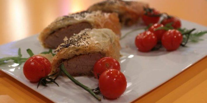 Lombinhos de porco em crosta com mostarda