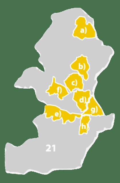 As 8 sub regiões do Alentejo. Destaque à alínea e) que representa geograficamente a Vidigueira