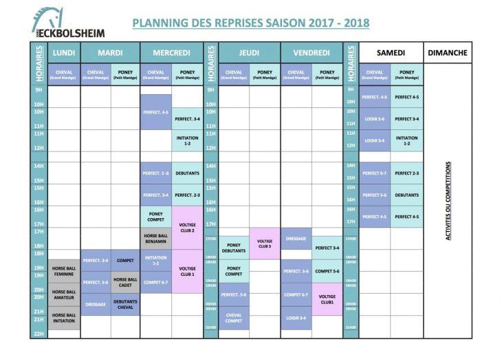 horaires et niveaux des cours