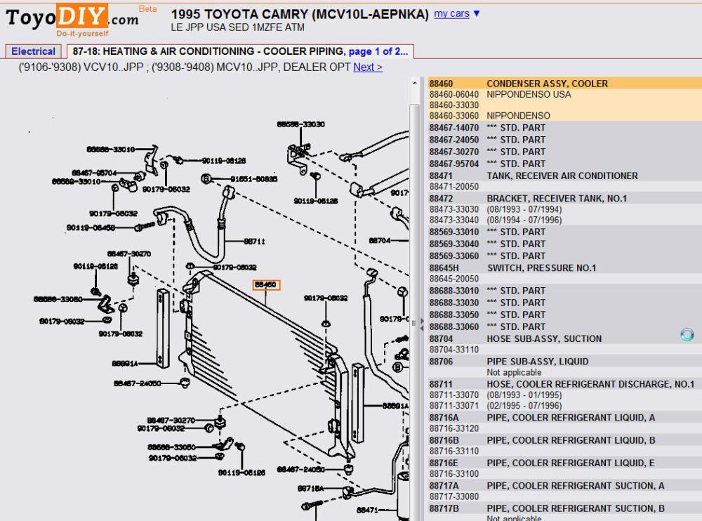 medium resolution of 1995 camry v6 ac condenser diagram