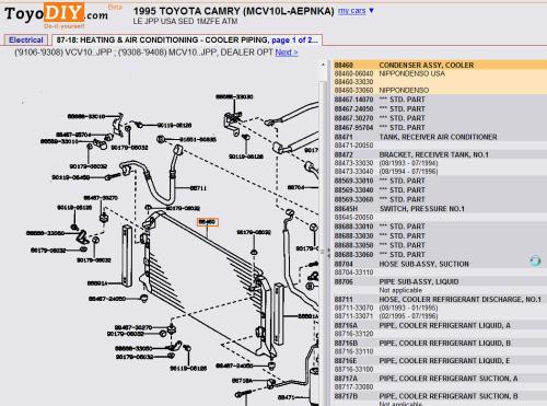 small resolution of 1995 camry v6 ac condenser diagram