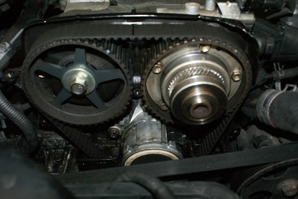 medium resolution of oil under timing belt cover