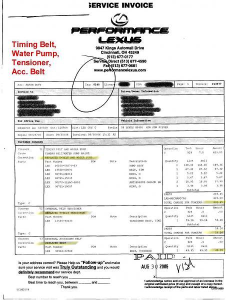 Timing Belt/Water Pump/Tensioner/Acc.Belt replaced