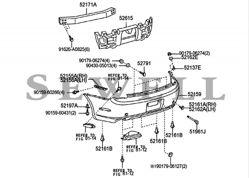 2008 Toyota Highlander Bumper Parts Diagram