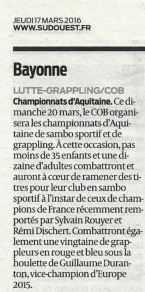 Sud ouest 39 - 17-03-2016 SAMBO GRAPPLING