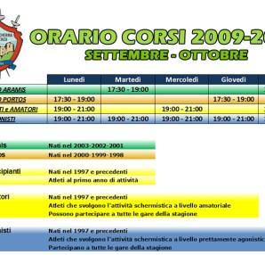 Orario Corsi - Club Scherma Cosenza
