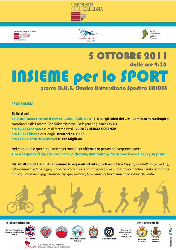 Programma Insieme per lo sport 5 ottobre