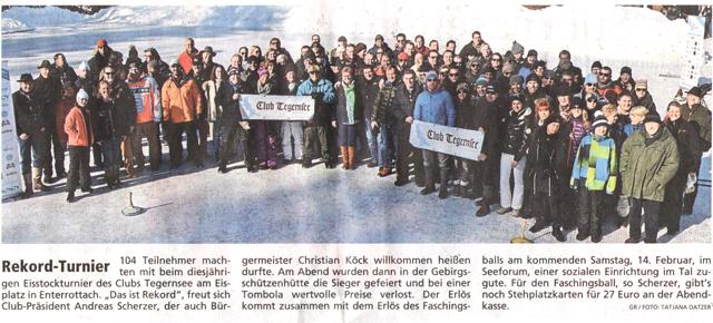 Artikel Tegernseer Zeitung, vom 10.02.2015