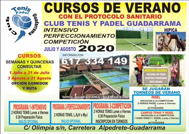 Cursos Verano 2020 Club Tenis Guadarrama