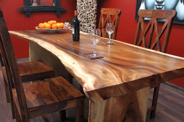 Esstisch Suar Holz Massiv Tisch Tischplatte Natur 207x100x765