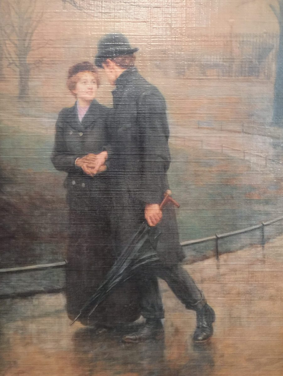 Painting of a man and woman strolling in the park