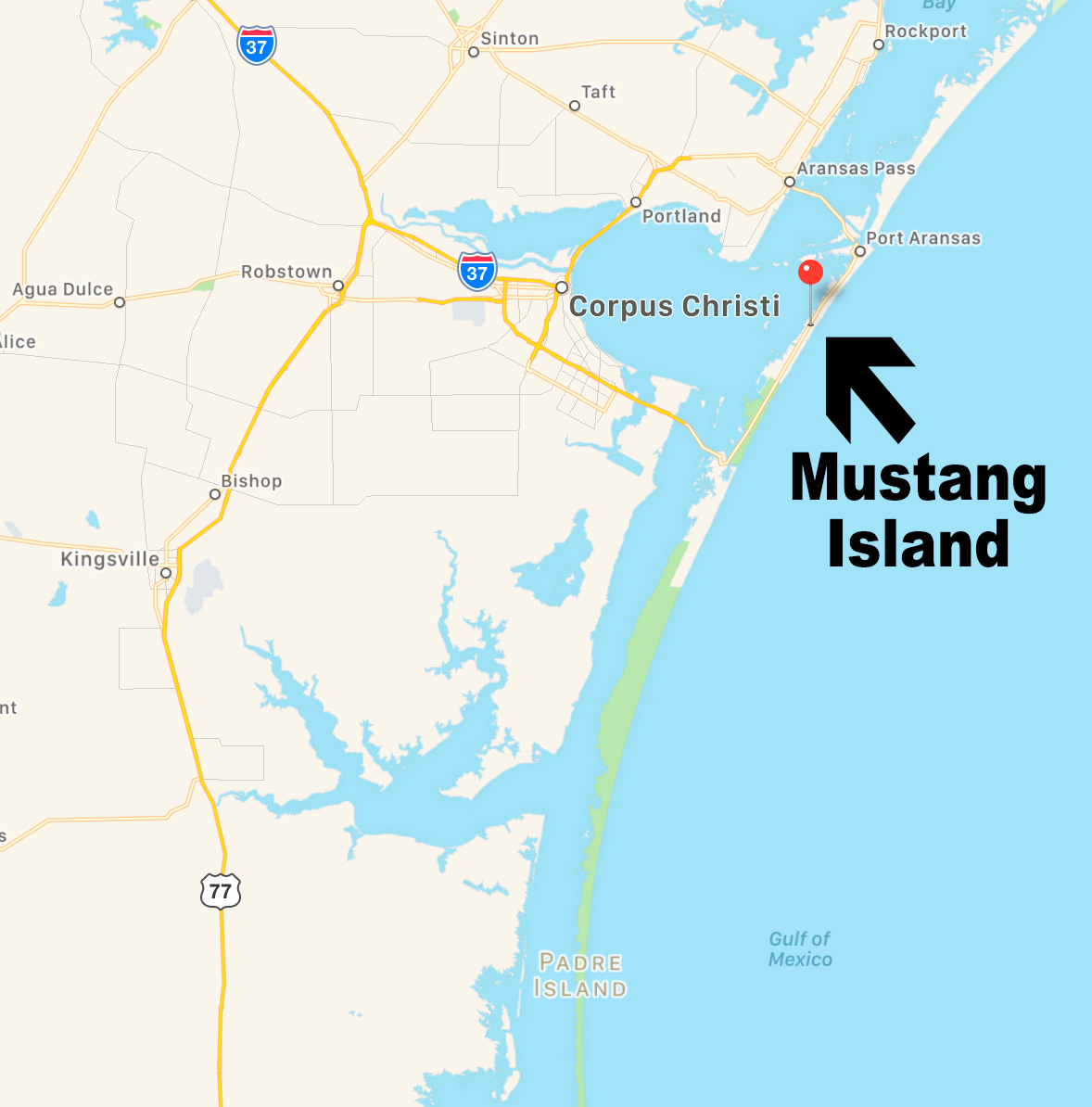 Map showing Mustang Island