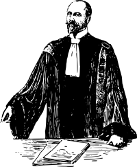 drawing of ye olde lawyer in robe looking left