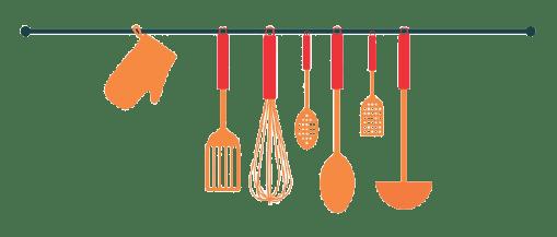 deco rack with cooking utensils hanging
