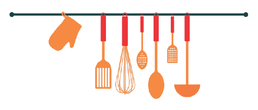 deco rack with cooking utensils hanging