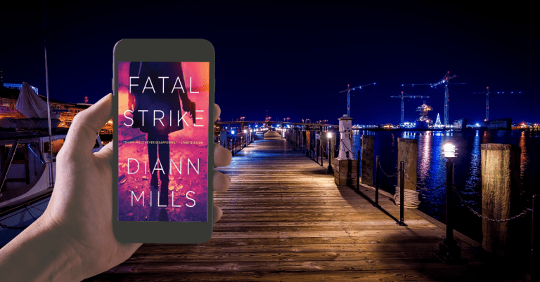 Image of pier at night with lights in the distance, and a hand holding a smartphone with Fatal Strike cover showing.
