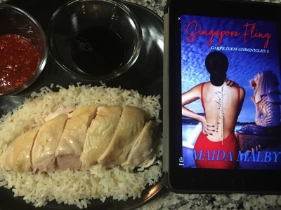 Image of Singaporean dish, chicken and rice, served with sauces, with Singapore Fling cover appearing on electronic tablet next to it