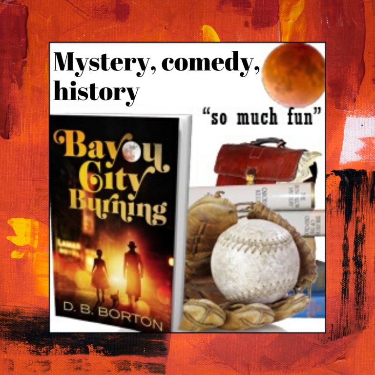 "Image of book cover, baseball glove with softball resting inside, and stack of books behind. ""Mystery, comedy, history - so much fun!"""