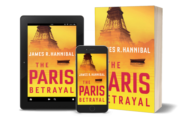 Image of The Paris Betrayal cover presented on a tablet, smartphone and paperback.