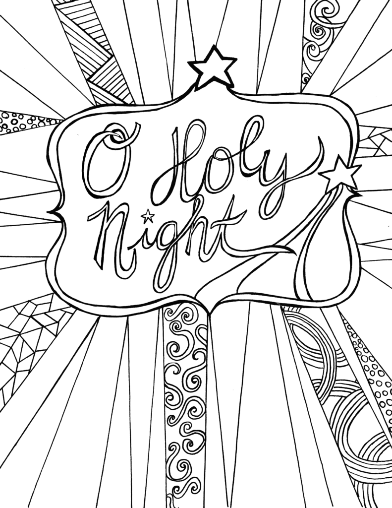 O Holy Night - Free Adult Coloring Sheet Printable ... | christmas coloring sheets for adults