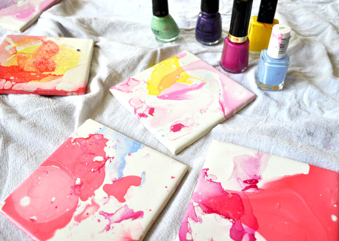 watercolor effect tile coasters