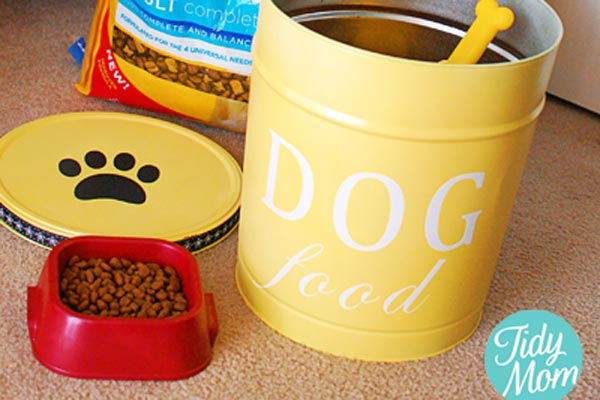 DIY yellow dog food container from Tidy Mom