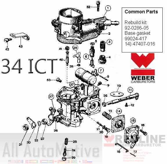 WEBER Redline 34 ICT / 34 ICH Dual Carburetor Carb Jetting