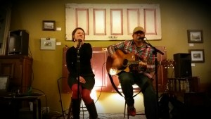 "Matt & Laurel live at Insomnia playing ""Pieces Apart."""