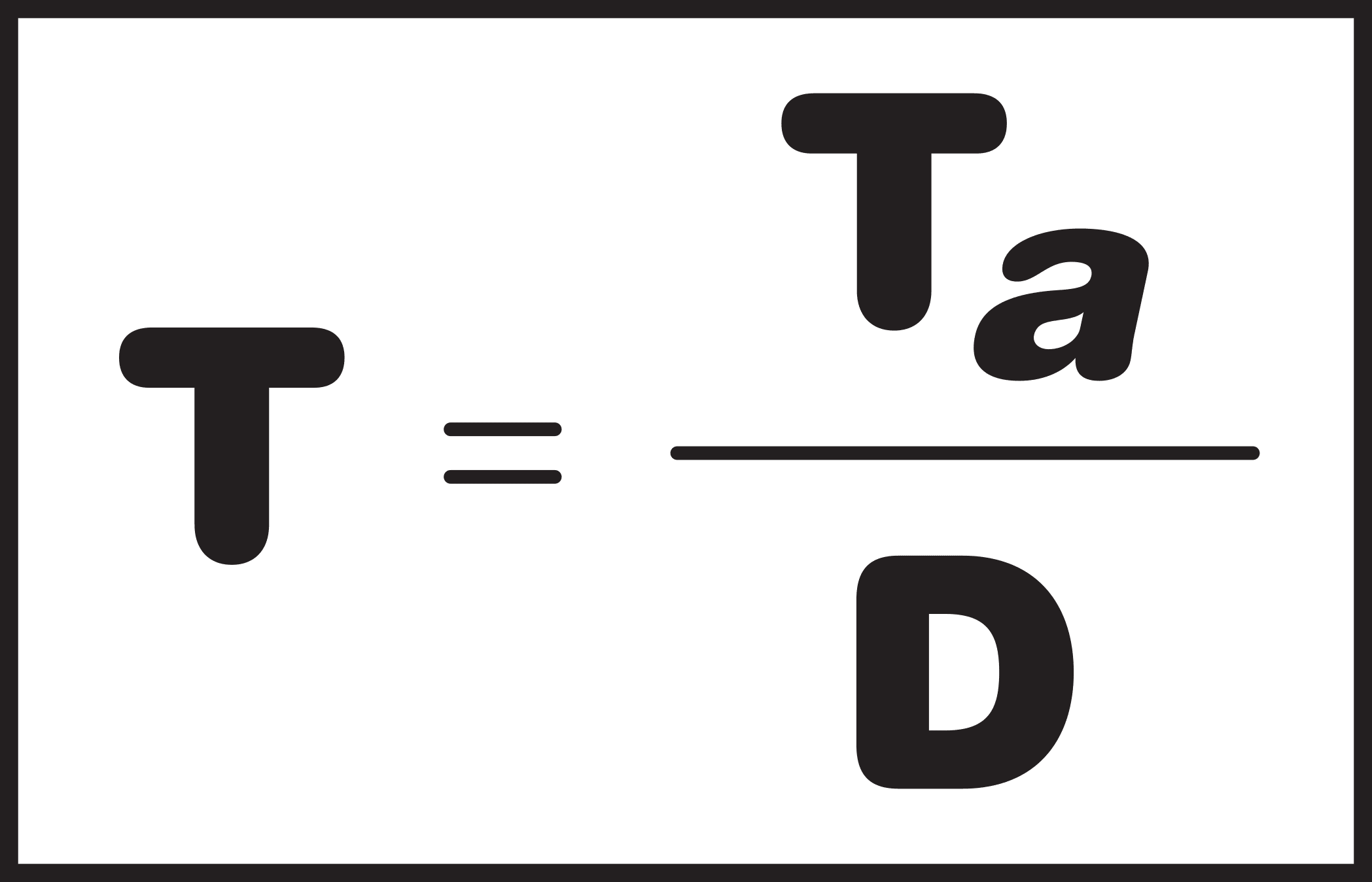 The formula for takt time is T = Ta divided by D.