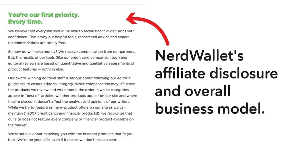 Nerd Wallet's affiliate disclosure is a short hand for their overall business model.